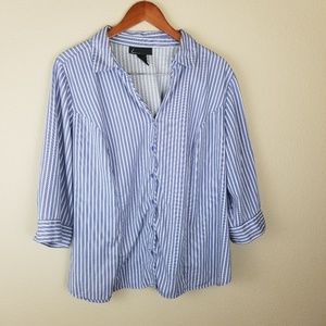 Lane Bryant Striped 3/4 Length Sleeve Button Down